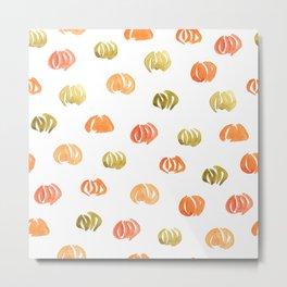 Pumpkin Pattern on White Metal Print
