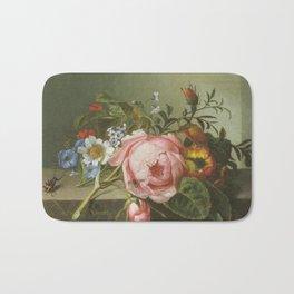 Rachel Ruysch - Spray of flowers, with a beetle on a stone balustrade Bath Mat