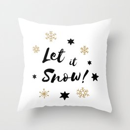 Let it Snow! Calligraphy Christmas, Stars and Snowflakes Throw Pillow