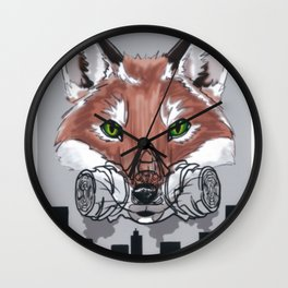 Can't Breath: environmental awareness; fox in the city Wall Clock