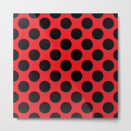 Red with black dots Metal Print
