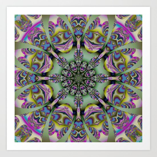 Colourful mandala with decorative shapes and tribal patterns Art Print