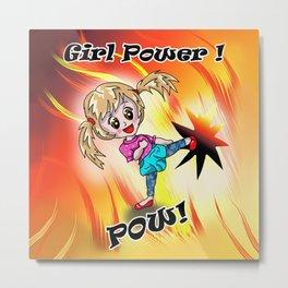 Girl Power Pow Metal Print