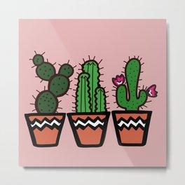 Cute Cacti In Pink Metal Print