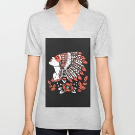 Indian cute lady, Hand drawn illustration of apache indian girl Unisex V-Neck