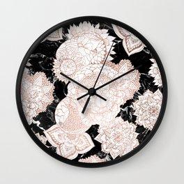 Modern rose gold floral mandala chic marble Wall Clock
