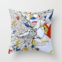boston map Throw Pillows featuring Boston mondrian map by Mondrian Maps
