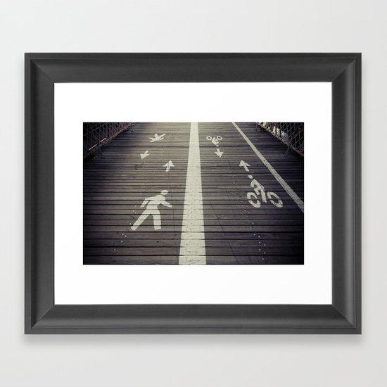 Brooklyn Bridge Footpath Framed Art Print