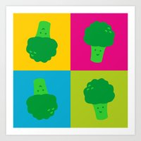 popart Art Prints featuring Popart Broccoli by XOOXOO
