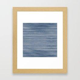 Dark Pastel Blue Whitewashed Beach Hut Cladding Framed Art Print