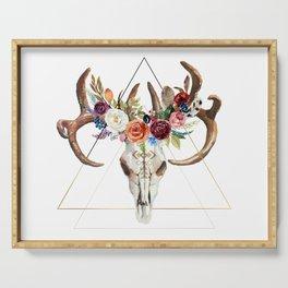 Geometric tribal floral bull skull Serving Tray