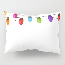 Colorful Christmas light bulb happy new year greeting card vector Pillow Sham