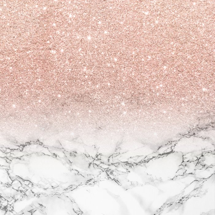 Modern faux rose gold pink glitter ombre white marble Comforters