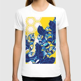 Geo Pop Foliage on Yellow & White T-shirt