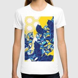 Geo Pop Foliage on Yellow & White T-shirt