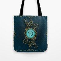 monogram Tote Bags featuring Monogram D by Britta Glodde