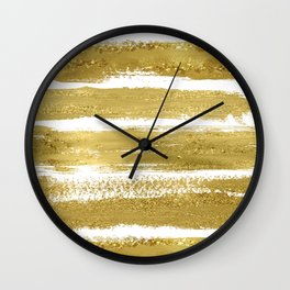Gold Glitter Brushstrokes Wall Clock