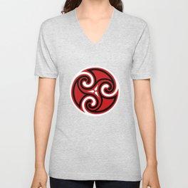 Celtic Triskele Ornament, Red, Black and White Unisex V-Neck