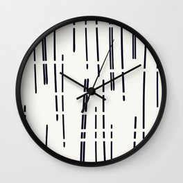 Abstract broken lines - black on off white Wall Clock