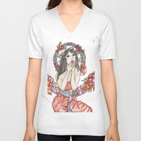 mucha V-neck T-shirts featuring Mucha à la Baton Rouge by Aida Avila