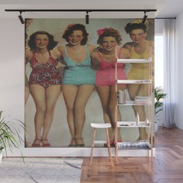 Retro girls just want to have fun Wall Mural