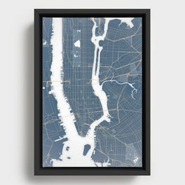 New York City - Detailed Road & Subway Map Framed Canvas