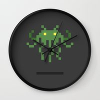 invader zim Wall Clocks featuring Cthulhu Invader by Michael B. Myers Jr.