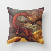 smaug Throw Pillows featuring Dragons Lair by Angela Rizza