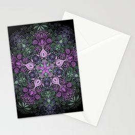 Baroque Garden Purple Green Mandala Stationery Cards