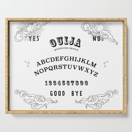Ouija Board Black on White Serving Tray