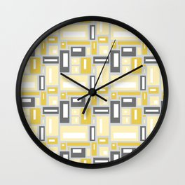 Simple Geometric Pattern in Yellow and Gray Wall Clock