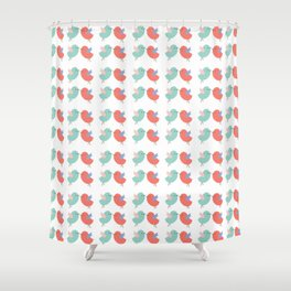 Cute coral green modern bird illustration Shower Curtain