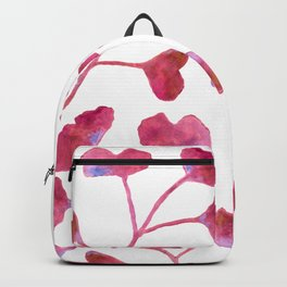 Ginkgo Leaves Watercolor Raspberry Pink on white Backpack