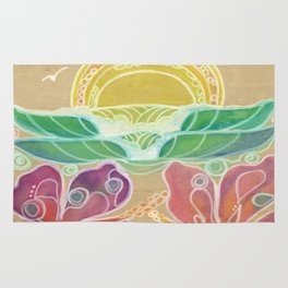 Double Hibiscus Surf Art by Lauren Tannehill Art Rug