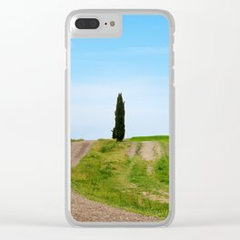 Beautiful spring minimalistic landscape with green hills in Tuscany countryside, Italy Clear iPhone Case