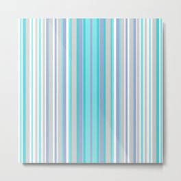 Multicolor striped pattern blue and white colours . Metal Print