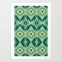 green pattern Art Prints featuring Pattern green  by Christine baessler