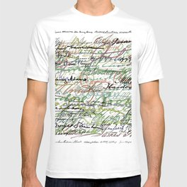 All The Presidents Signatures Green Sepia T-shirt