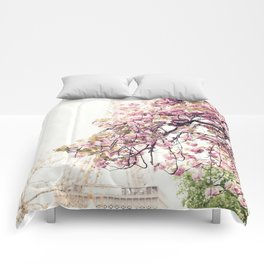 Cherry blossoms in Paris, Eiffel Tower II Comforters