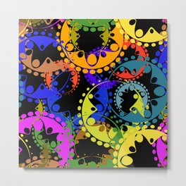 Texture of bright blue and orange gears and laurel wreaths in kaleidoscope style on a black backgrou Metal Print
