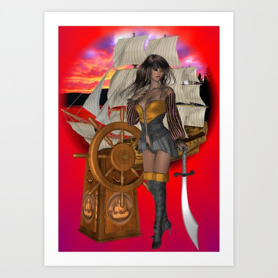 Pirate Pin Up Art Print