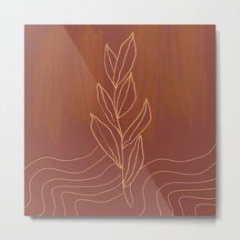 Terra Cotta Leaf Metal Print