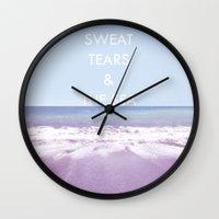 salt water Wall Clocks featuring Salt Water by Hannah Badger