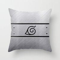 naruto Throw Pillows featuring Naruto Headband by Kesen