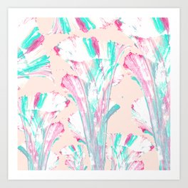 Girly Artsy Pink Teal Acrylic Abstract Flower Art Art Print