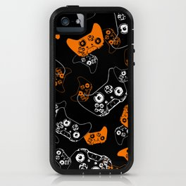 Video Game Orange on Black iPhone Case