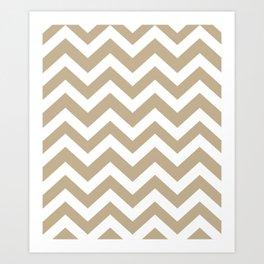 Khaki (HTML/CSS) (Khaki) - grey color - Zigzag Chevron Pattern Art Print