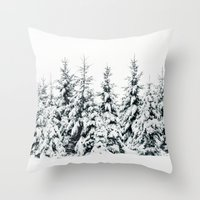 snow Throw Pillows featuring Snow Porn by Tordis Kayma