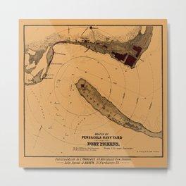 Map Of Pensacola 1862 Metal Print