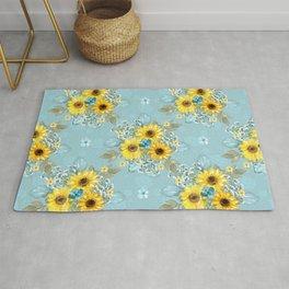 Beautiful Blue & Yellow Sunflowers Rug